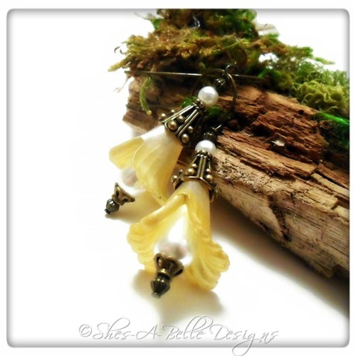 Lemon Drop Fairy Flower Drop Earrings in Antique Bronze, Lucite Flower Earrings