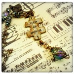Life is Good OOAK Upcycled Rustic Puzzle Piece Necklace in Antique Bronze