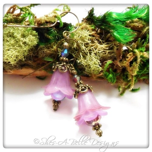 French Lilac Fairy Flower Drop Earrings in Antique Bronze, Lucite Flower Earrings
