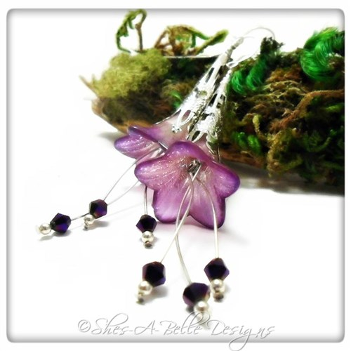 French Lilac Fairy Flower Trumpet Cascade Earrings in Silver, Lucite Flower Earrings