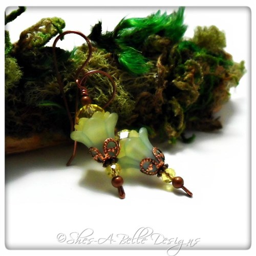 Lime Tree Fairy Flower Upside Down Earrings in Antique Copper, Lucite Flower Earrings