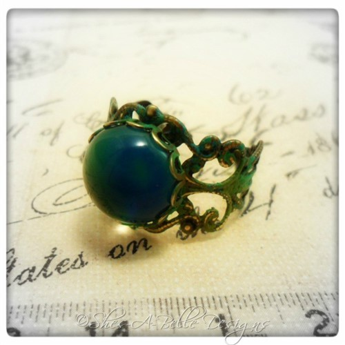 Victorian Style Mood Ring in Antique Bronze Patina, Adjustable Ring