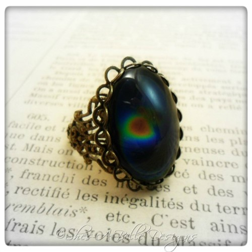 Victorian Style Rainbow Mood Ring in Antique Bronze, Adjustable Ring