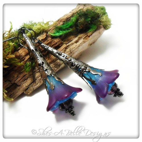 Morning Glory Fairy Flower Trumpet Earrings in Gunmetal, Lucite Flower Earrings