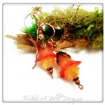 Orange Blossom Fairy Flower Drop Earrings in Antique Copper, Lucite Flower Earrings
