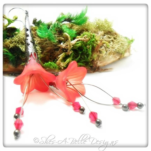 Wild Peony Fairy Flower Trumpet Cascade Earrings in Gunmetal, Lucite Flower Earrings