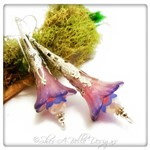 Petunia Fairy Flower Trumpet Earrings in Bright Silver, Lucite Flower Earrings