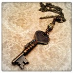 Poison Key Necklace in Antique Bronze, Altered Steampunk Key Necklace