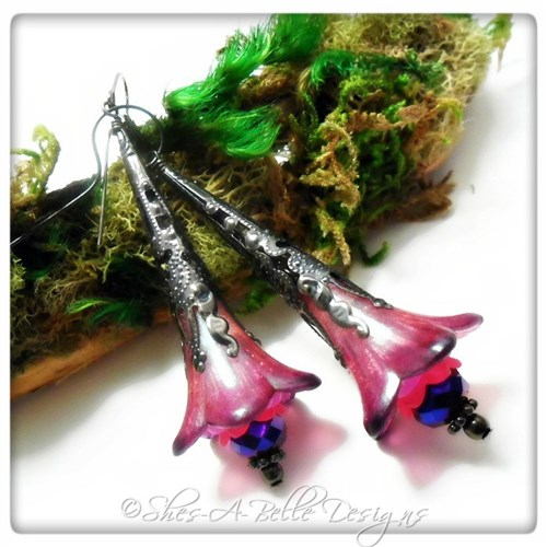 Raspberry Fairy Flower Trumpet Earrings in Gunmetal, Lucite Flower Earrings