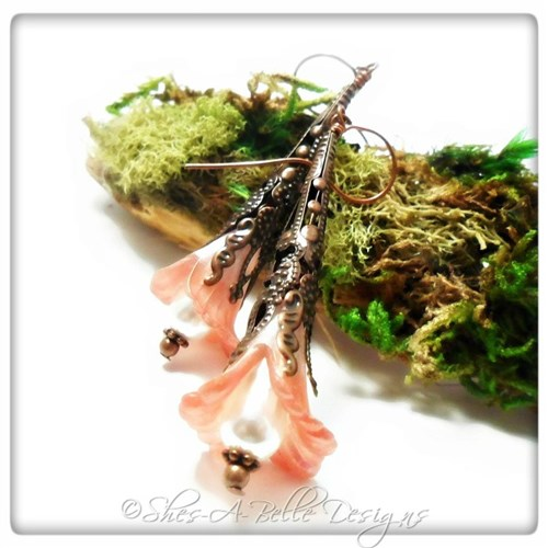 Wild Rose Fairy Flower Trumpet Earrings in Antique Copper, Lucite Flower Earrings