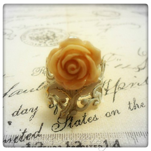 Shabby Chic Rose Flower Filigree Ring in Patinaed Antique Bronze, Adjustable