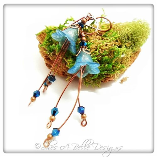 Sky Fairy Flower Cascade Earrings in Antique Copper, Lucite Flower Earrings