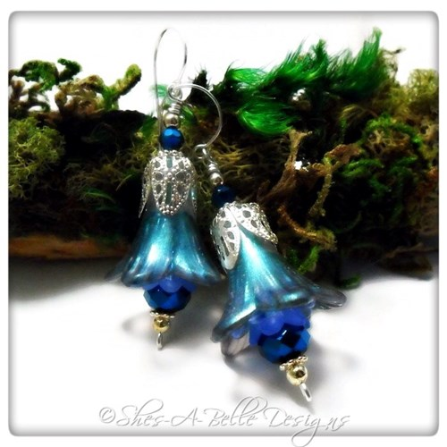 Sky Fairy Flower Trumpet Drop Earrings in Bright Silver, Lucite Flower Earrings