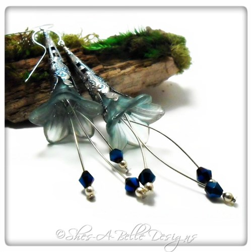 Sky Fairy Flower Trumpet Cascade Earrings in Bright Silver, Lucite Flower Earrings