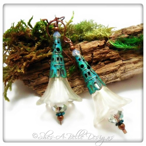 Snowflake Fairy Flower Trumpet Drop Earrings in Antique Copper Patina, Lucite Flower Earrings