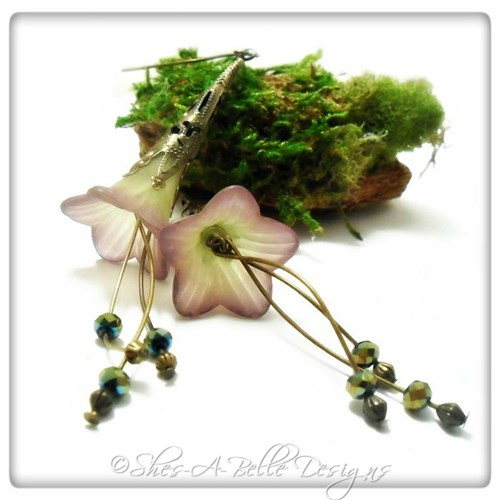 Summertime Fairy Flower Trumpet Cascade Earrings in Antique Bronze, Lucite Flower Earrings