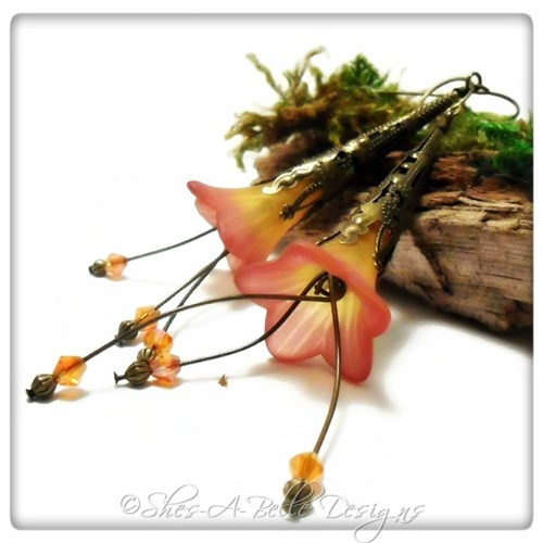 Sunset Fairy Flower Trumpet Cascade Earrings in Antique Bronze, Lucite Flower Earrings