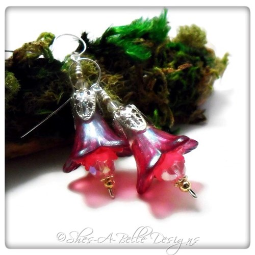 Sweet Pea Fairy Flower Trumpet Drop Earrings in Bright Silver, Lucite Flower Earrings
