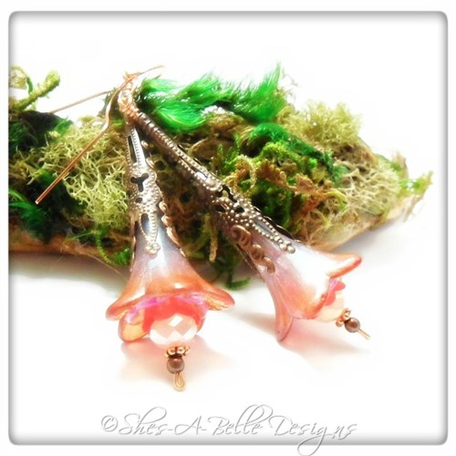 Sweet Pea Fairy Flower Trumpet Earrings in Antique Copper, Lucite Flower Earrings