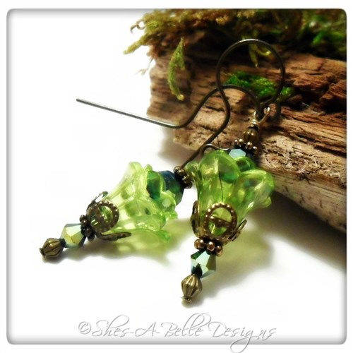 Tree Sprite Fairy Flower Upside Down Drop Earrings in Antique Bronze, Lucite Flower Earrings