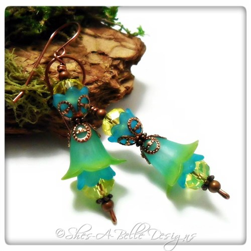 Tropics Fairy Flower Double Drop Earrings in Antique Copper, Lucite Flower Earrings