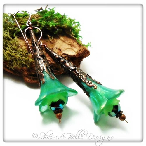 Tropics Fairy Flower Trumpet Earrings in Antique Copper, Lucite Flower Earrings