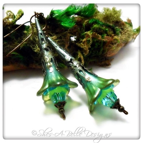 Tropics Fairy Flower Trumpet Earrings in Colorized Antique Bronze, Lucite Flower Earrings