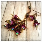 Violet Fairy Flower Necklace and Earrings Set in Antique Bronze, Lucite Flowers
